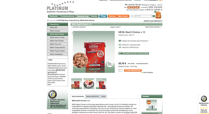 PLATINUM Futter MENU BEEF+CHICKEN auch im Vorteilspack erhältlich (screen)