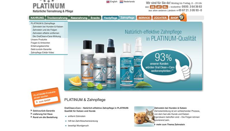 PLATINUM stellt nicht nur Futter für Hunde her, sondern auch Produkte zur Zahn- und Hautpflege.