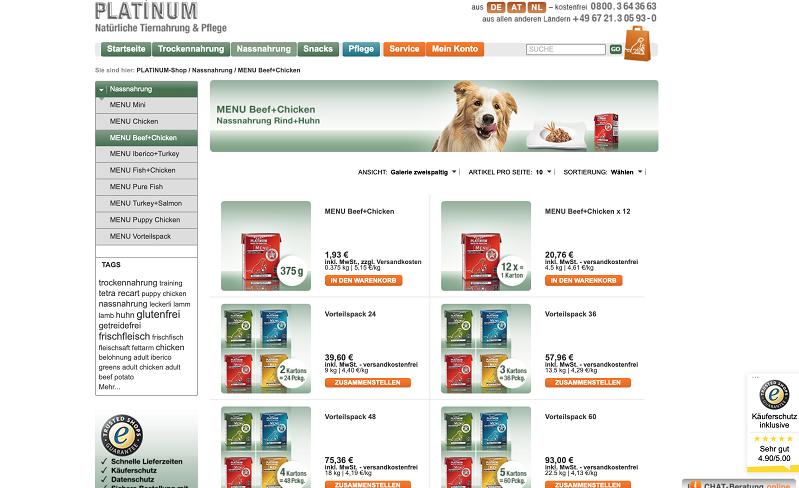 PLATINUM Webshop: Der Bestellvorgang ist einfach und übersichtlich (Screen)